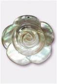 Pendentif rose en nacre 40 mm gris x1