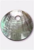 Pendentif rond en nacre 65 mm gris x1