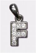 Breloque strass lettre f x1