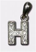 Breloque strass lettre h x1