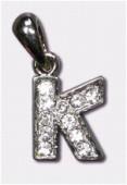 Breloque strass lettre k x1