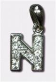 Breloque strass lettre n x1
