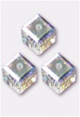 Cube 5601 6 mm crystal AB x2