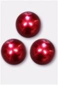 Ronde nacrée 10 mm rouge x4