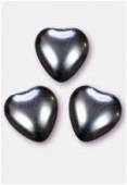 Coeur nacré 12x11 mm hématite x4