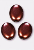 Palet ovale nacré 12x9 mm chocolat x4