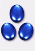 Palet ovale nacré 12x9 mm bleu x4