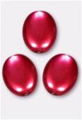 Palet ovale nacré 12x9 mm rouge x4