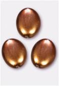 Palet ovale nacré 20x14 mm noisette x2
