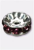 Rondelle strass 6 mm amethyst / argent x4