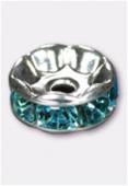 Rondelle strass 6 mm aquamarine / argent x4