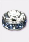 Rondelle strass 6 mm light sapphire / argent x4