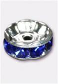 Rondelle strass 6 mm sapphire / argent x4