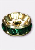Rondelle strass 6 mm emerald / or x4