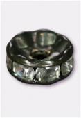 Rondelle strass 6 mm cristal / noir x4