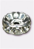 Rondelle strass 4,5 mm cristal / argent x4
