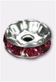 Rondelle strass 8 mm fuchsia / argent x1