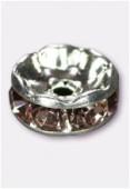 Rondelle strass 8 mm light amethyst / argent x1