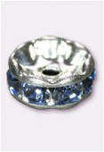 Rondelle strass 8 mm light sapphire / argent x1