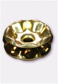 Rondelle strass 8 mm smoked topaz / or x1