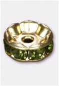 Rondelle strass 8 mm olivine / or x1