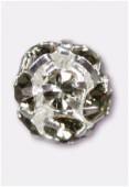 Boule strass 6 mm black diamond / argent x1