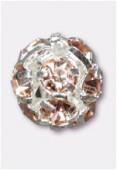 Boule strass 6 mm light rose / argent x1