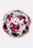Boule strass 6 mm fuchsia / argent x1