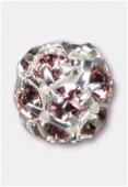 Boule strass 6 mm light amethyst / argent x1