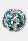 Boule strass 6 mm aquamarine / argent x1