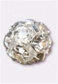 Boule strass 8 mm cristal / argent x1