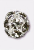 Boule strass 8 mm black diamond / argent x1