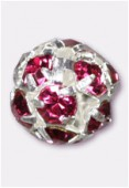 Boule strass 8 mm fuchsia / argent x1