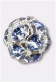 Boule strass 8 mm light sapphire / argent x1