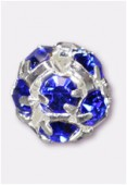 Boule strass 8 mm sapphire / argent x1