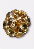 Boule strass 8 mm light smoked topaz / or x1