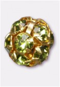 Boule strass 8 mm olivine / or x1