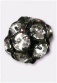 Boule strass 8 mm cristal / noir x1