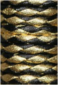 Cuir synthétique tressé noir / or x92cm