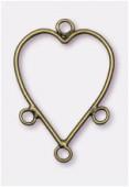 Composant pour boucle d'oreille coeur 33x23 mm bronze x2