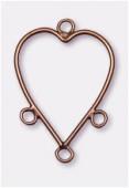 Composant pour boucle d'oreille coeur 33x23 mm cuivre x2