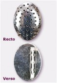 Broche tamis ovale 30x23 mm argent x1