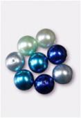Ronde nacrée 10 mm mélange bleu x8