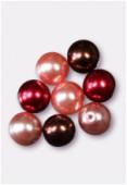 Ronde nacrée 10 mm mélange rouge x8