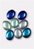 Palet ovale nacré 12x9 mm mélange bleu x8