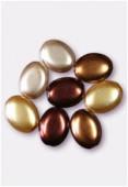 Palet ovale nacré 12x9 mm mélange marron x8