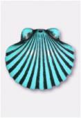 Coquillage en résine 24x22 mm turquoise x2