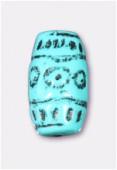 Tube aplati en résine 22x12 mm turquoise x2