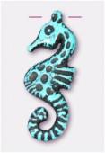 Hippocampe en résine 30x12 mm turquoise x1