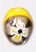 Perle en verre olive MUR2 jaune x2